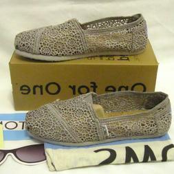 TOMS Classic Women's Size 6 Silver Morocco Crochet Flats Sho