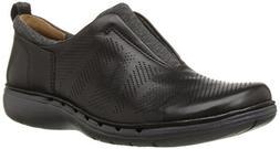 CLARKS Women's Un Spirit Slip-On Loafer, Black Leather, 6 M