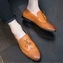 Vogue Mens Fringe slip on Loafer Brogue Wingtip Carved Dress