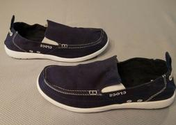 Crocs Walu 11270 Mens Size 10 Navy Canvas Slip On Loafers Ca