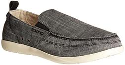 crocs Men's Walu Chambray M Slip-On Loafer, Charcoal/Stucco,