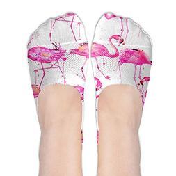watercolor flamingos women s boat socks low