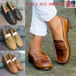 WOMEN FLAT LEATHER MOCCASINS SHOES LOAFERS SLIP-ON COMFY CAS