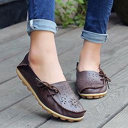 Women Genuine Leather Moccasin Flats Loafers Oxfords Casual