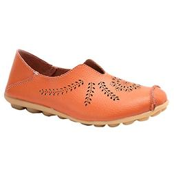 Women Leather Loafers,Dacawin Female Casual Round Toe Hollow