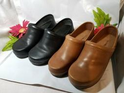 EASY SPIRIT Women's Black + Brown Leather Slip-On Wedge Loaf