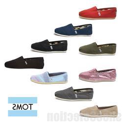 TOMS WOMEN'S Classic All Colors Canvas Slip On Shoes 100% Au