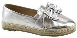 Bella Marie Women's Closed Toe Slip-on Bow Woven Espadrille