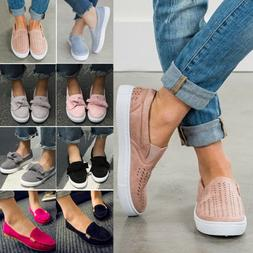 Women's Ladies Low Flat School Work Dolly Loafers Bow Creepe