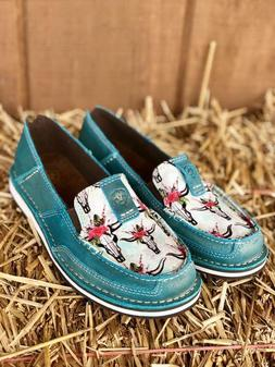 Ariat Women's Shimmer Turquoise Steer Skull Cruiser Shoe 100