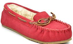 DREAM PAIRS Women's Shozie-01 Red Faux Fur Slippers Loafers