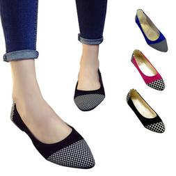 Women's Suede Pointy Toe Ballet Flat Shoes Multi-clolored Ca