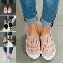 Women's Trainers Flat Loafers Sneaker Ladies Slip On Walking
