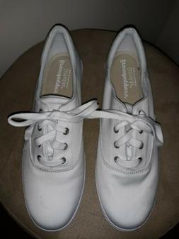 Women's White Leather Grasshopper ortholite Tennis Shoes Sz