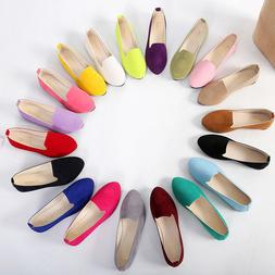 Womens Boat Shoes Casual Ballet Slip On Flats Loafers Single