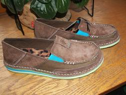 ARIAT Womens Cruiser Pal Brown with Turquoise Loafer SLIP-ON
