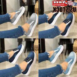 Womens Denim Loafers Pumps Ladies Summer Casual Slip On Flat