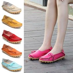 Womens Flat Shoes Leather Loafers Soft Flats Comfortable Fem