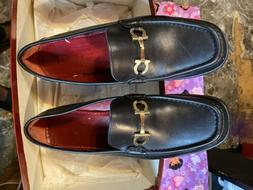 Salvatore Ferragamo Womens Horsebit Buckle  Black Loafers Si