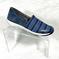 Dansko Women's Loafers Blue Stripe Canvas Fabric Slip 7-7.