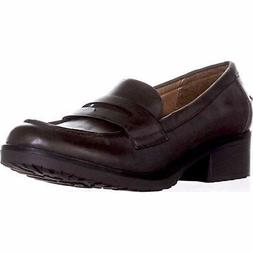 Bare Traps Womens Oliva Leather Round Toe Loafers, Brown, Si