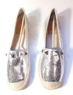 Bella Marie Womens Shoes Flats Loafers Size 9 - Silver PU Ma