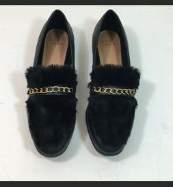 Womens size 10 Faux Leather Fur Closed Loafers Black A New D