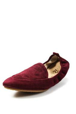Yosi Samra Womens Skyler Pointed Toe Loafers Flats Red Suede