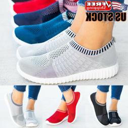 Womens Slip On Sneakers Trainers Ladies Mesh Breathable Spor