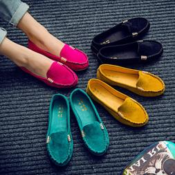 Womens Suede Flat Shoes Loafers Ladies Ballerina Ballet Slip