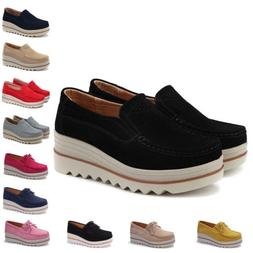 Womens Suede Leather Slip-on Comfort Wedge Loafers Platform