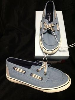 Cat and Jack Youth Boys Loafer Boat Canvas Shoes Blue Slip O